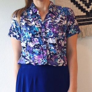 Erika Blue Purple Abstract Floral SS Button Up - M